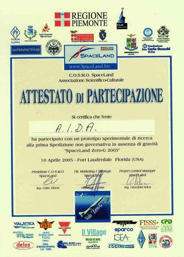 Attestato Spaceland per AIDA