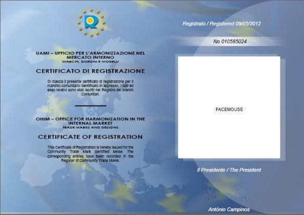 FaceMOUSE marchio registrato a livello Comunitario Europeo
